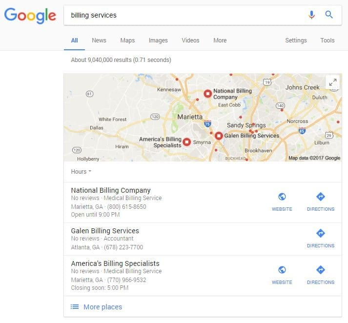 billing services google example