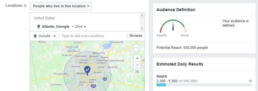potential reach of facebook ad example